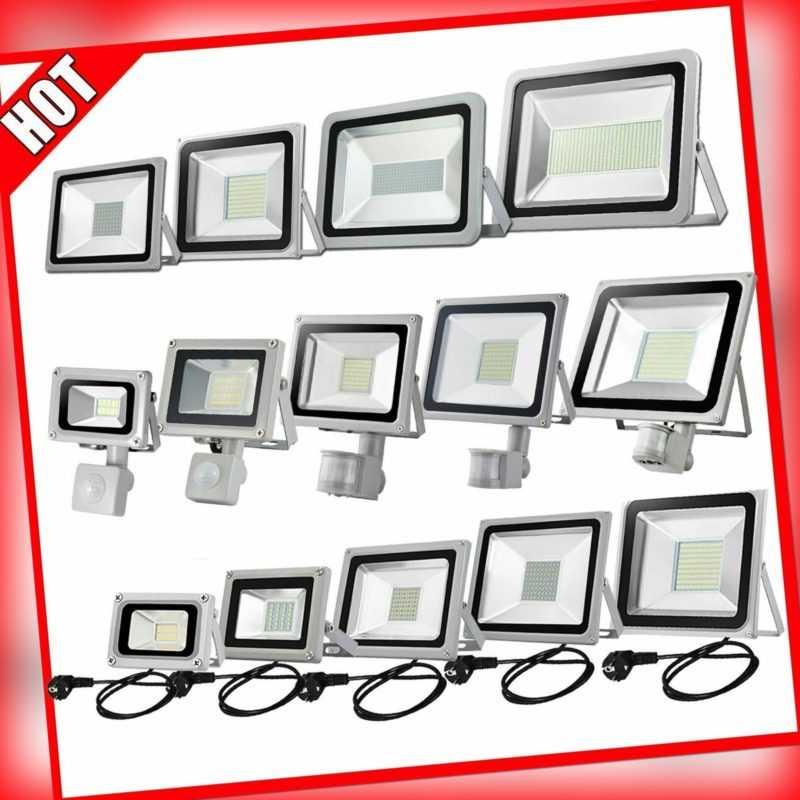 LED Fluter mit Bewegungsmelder Stecker 10-100W Außen Strahler Scheinwerfer IP65