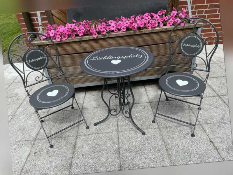 Bistro Garten Balkon Set 3 tlg. Lieblingsplatz grau Metall Romantik