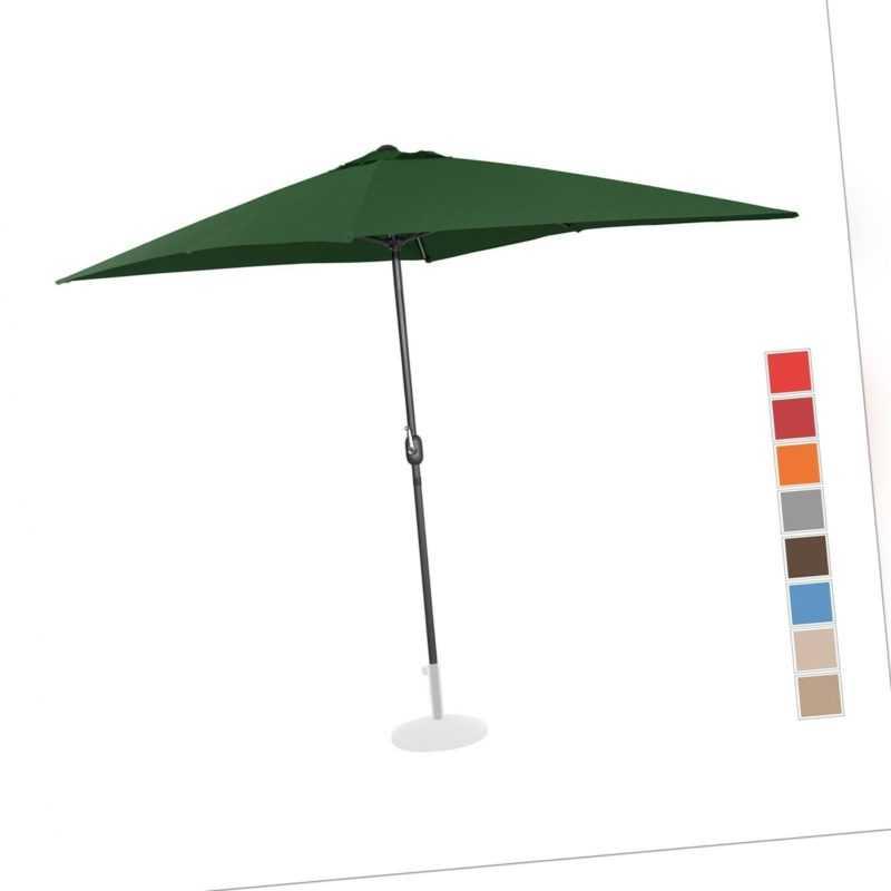 Sonnenschirm Groß Gartenschirm Grün Rechteckig 200 X 300 Cm Uv-Schutz 50+