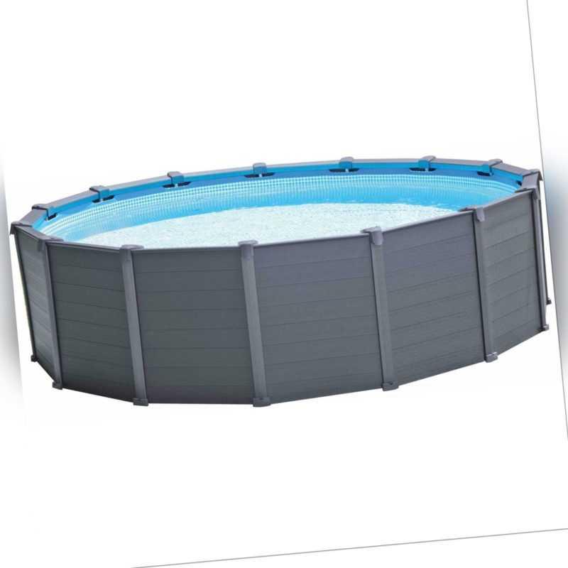 Intex 26384GN GraphiteGray Panel Frame Pool 478x124cm rund Schwimmbecken
