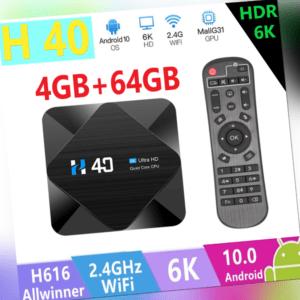 H40 Android 10.0 TV Box H616 Quad-core 6K HDR10 2.4G 5G WiFi BT4.1 100M LAN R5C1