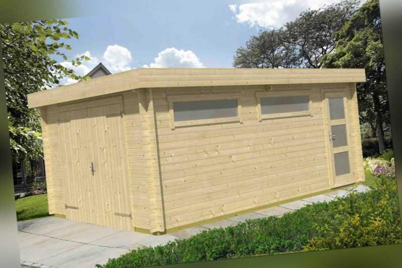 44 mm Holzgarage Canberra ca. 380x560 cm Holz Unterstellplatz Carport Blockhaus