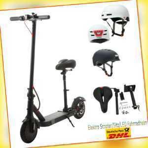 E-Scooter Elektroroller Faltbar Elektro Roller 35km Reichweite mit Sitz LED Helm