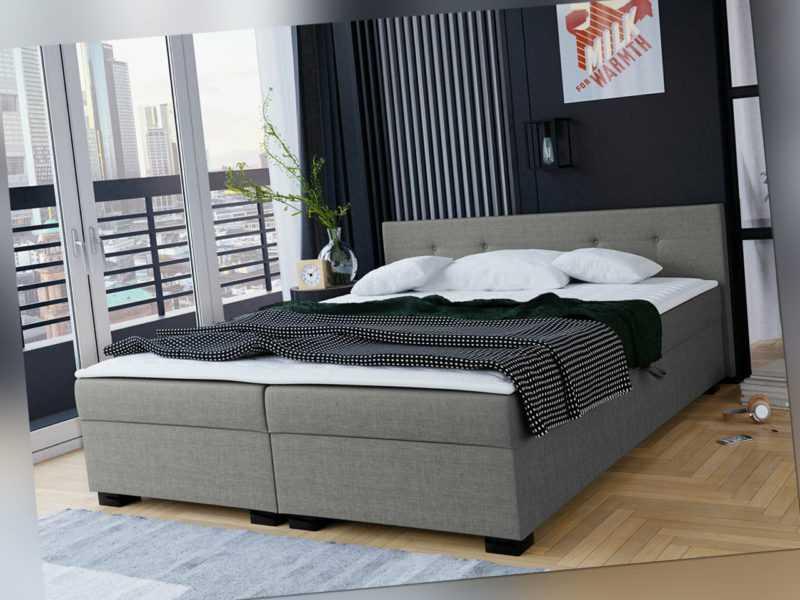 Boxspringbett Domiko Doppelbett Polsterbett mit Matratze Design Schlafzimmer M24