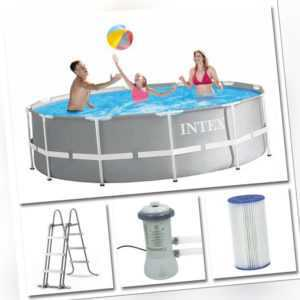 INTEX Komplettset Prism Frame Pool Ø 366x99cm + Filterpumpe Swimmingpool