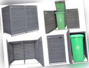 Mülltonnenbox Mülltonnenverkleidung aus Holz 120L - 240L  mit Rückwand