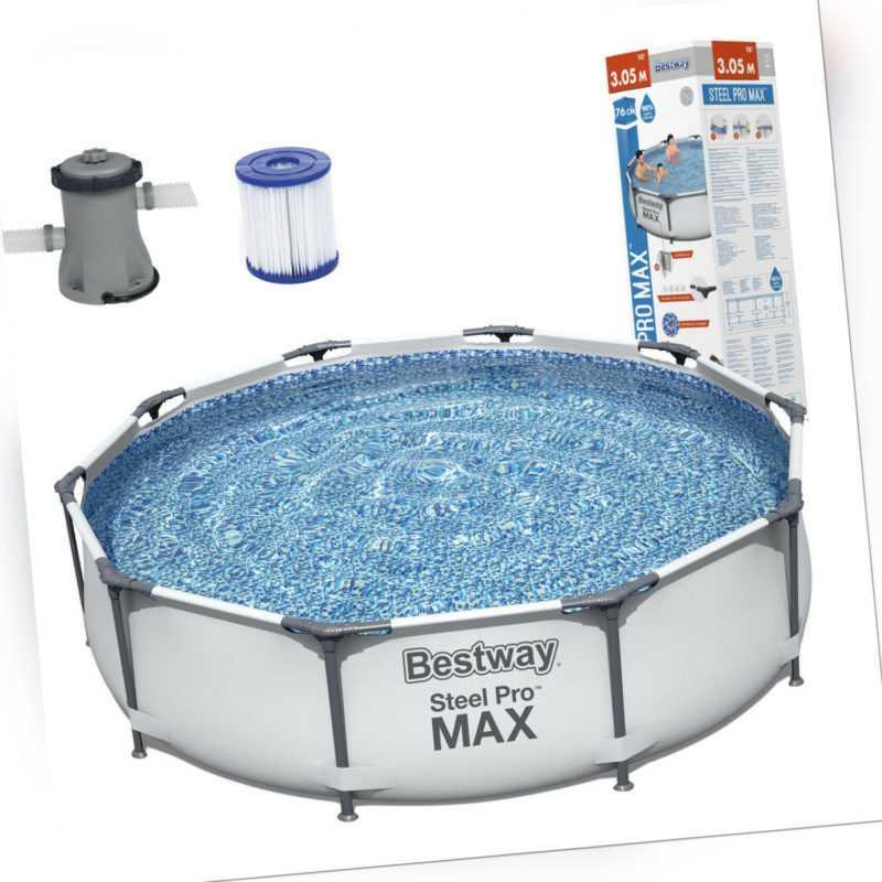 Bestway Steel Pro MAX Pool Schwimmbecken 305x76 Stahlrahmenpool mit Pumpe 56408