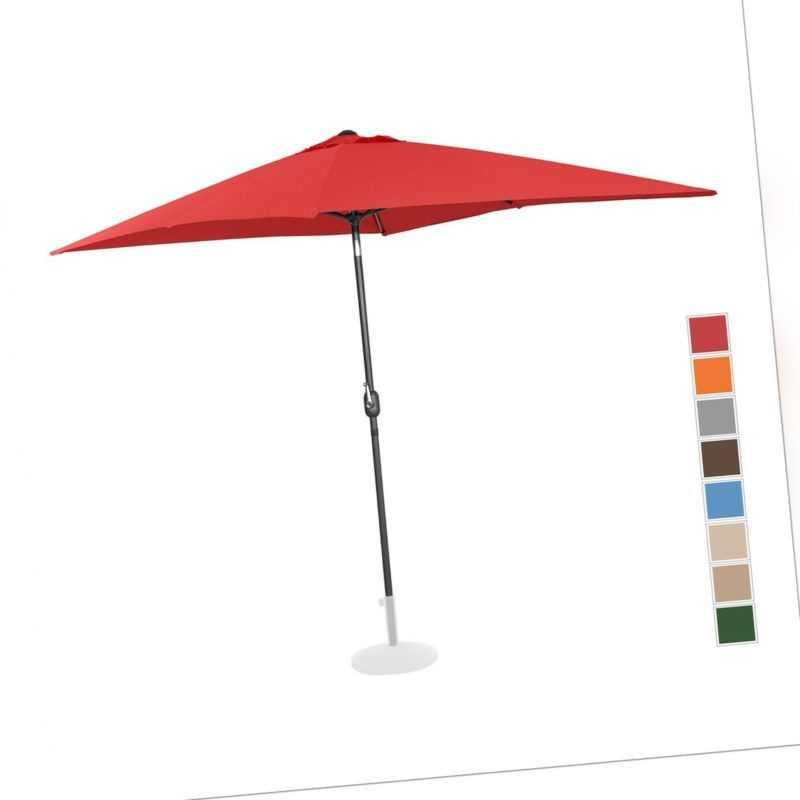 Sonnenschirm Groß Gartenschirm Rot Rechteckig 200 X 300 Cm Neigbar Kurbel