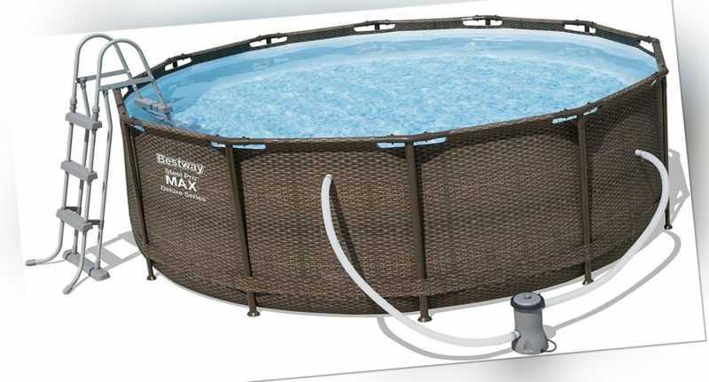 Bestway Steel Pro Max Frame Pool Komplettset Deluxe rund Rattan-Optik 366