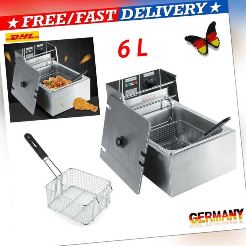 Fritteuse 6L Friteuse Fritöse Kaltzone Fettbackgerät Fettkorb Edelstahl 2500W PE