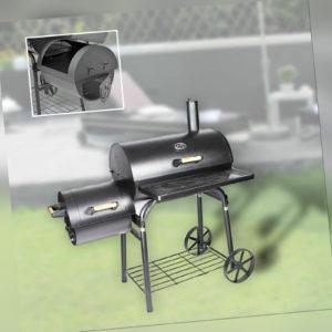 Barbecue Grill Smoker. Holzkohle Grillwagen mit integrierter Räucherbox-Schwarz