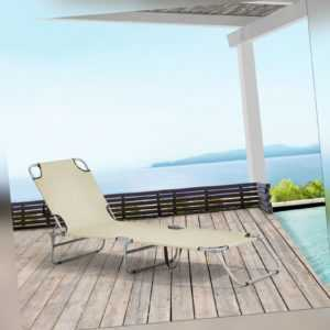 B-WARE Sonnenliege Gartenliege Strandliege Transportliege Liege Klappbar Beige