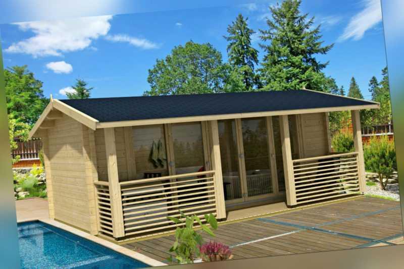 Gartenhaus Lyndhurst ISO  Blockhaus Gerätehaus Holzhaus Schuppen 570x420cm 70 mm