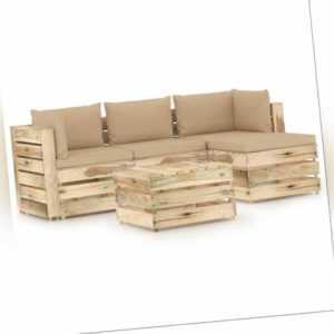 vidaXL Holz Grün Imprägniert Gartenmöbel 5-tlg. Kissen Sitzgruppe Lounge Sofa