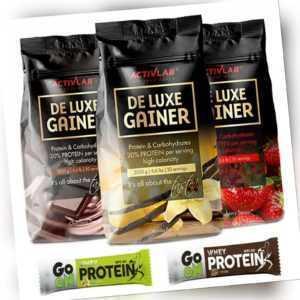 De Luxe Gainer 3kg Whey Protein Pulver extrem Muskelaufbau 2x Eiweiß Riegel