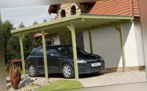 Einzelcarport 300x500 cm Carport Garage Holz Unterstand Flachdach Pfosten 9x9 cm