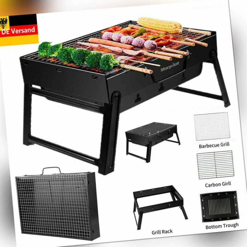 Faltbar BBQ Grill Holzkohlegrill Klappgrill Tischgrill Outdoor Barbecue Party DE