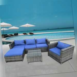 Polyrattan Lounge Grau Blau Sofa Tisch Sessel Gartenmöbel Rattanmöbel Gartenset