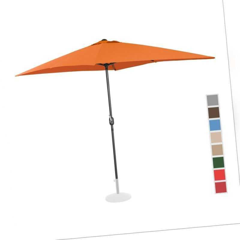 Sonnenschirm Groß Gartenschirm Orange Rechteckig 200 X 300 Cm Uv-Schutz 50+