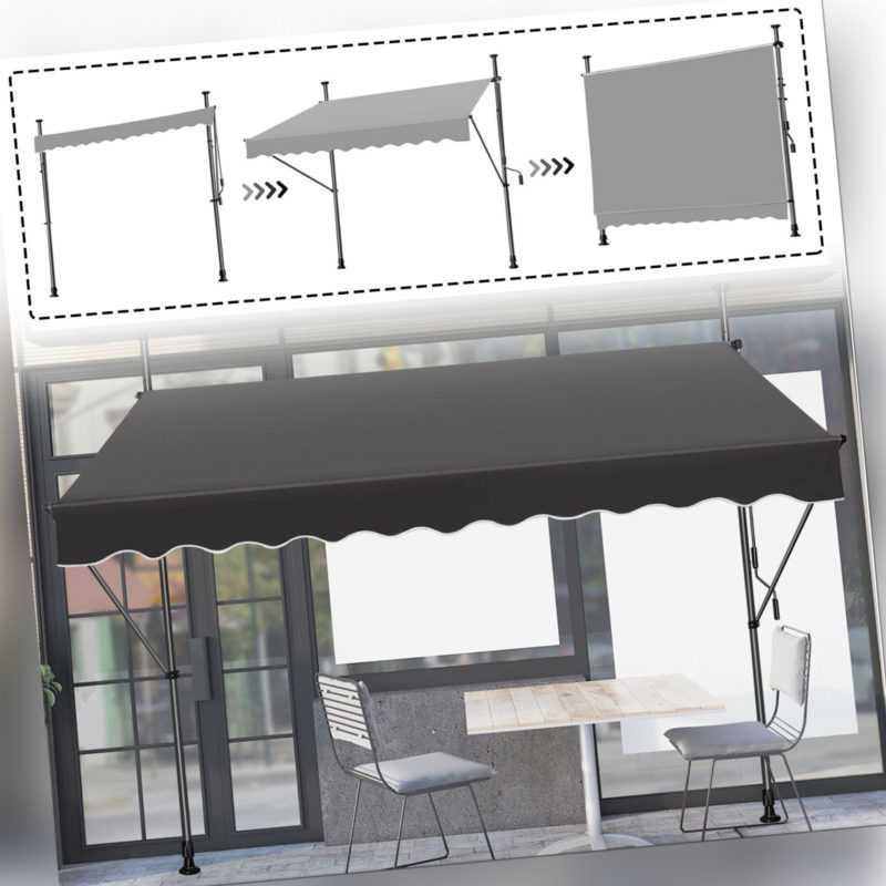 Alu Klemmmarkise 150-350cm Balkon Markise Sonnenschutz Terasse Fenstermarkise DE