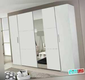 Kleiderschrank Schwebetürenschrank Weiß mit Spiegel 269cm x 210cm inkl. Zubehör