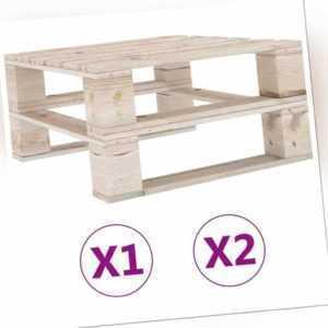 vidaXL 1/2x Kiefer Imprägniert Garten Palettentisch Gartenhocker Beistelltisch