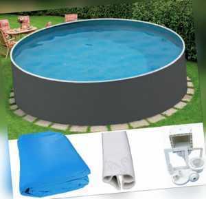 Schwimmbecken Set 3,60 x 0,90m graphit Skimmer Folie 0,5mm Stahlwandpool Pool