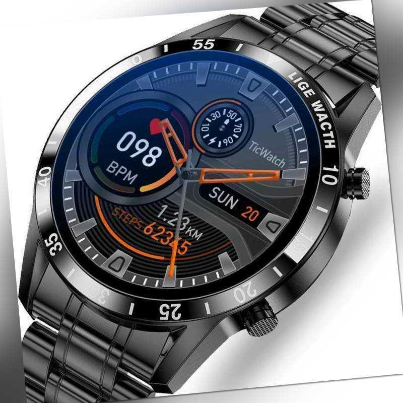 Luxus Herren Smartwatch Armband Herzfrequenz Pulsuhr Blutdruck Fitness Tracker D