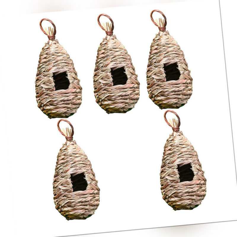 5pcs Natürlichen Handgewebten Stroh Vogelnest, Vogelschaukel Spielzeug Für