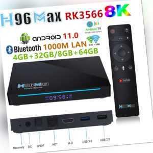H96 MAX RK3566 TV Box WIFI Media 8K HD Quad Core Voice Control Android 11.0