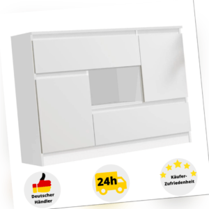 Kommode Sideboard Highboard Holz Weiß Eiche Schublade Schrank Mehrzweckschrank