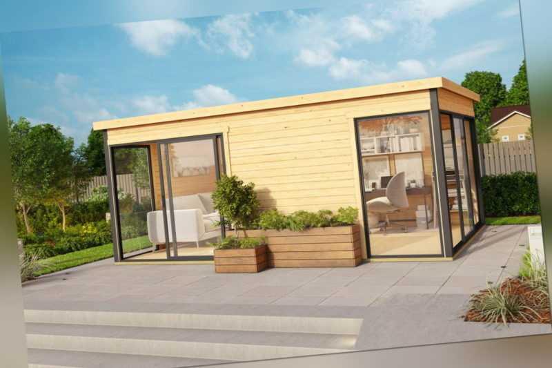 Lasita Maja Premium Gartenhaus DOMEO 3 ISO, 529x320cm 44mm Wände + Boden