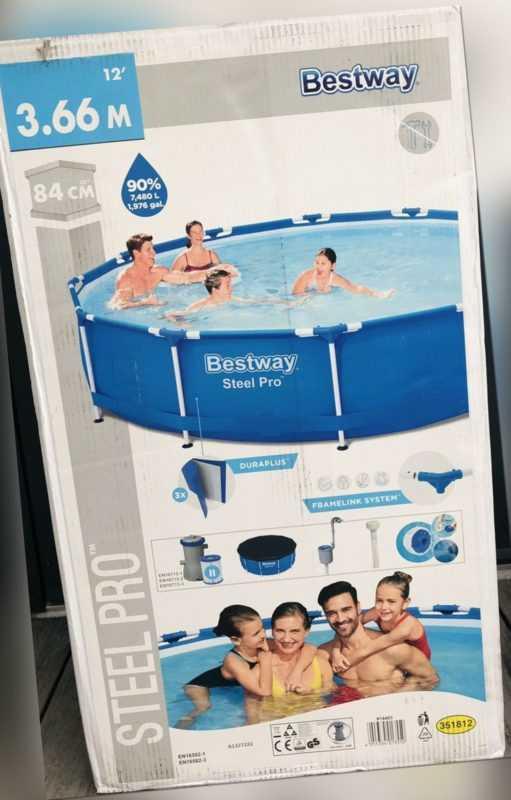 Bestway Steel Pro Pool Set mit Pumpe u. Plane 366 x 84 cm Blau Swimming Pool NEU