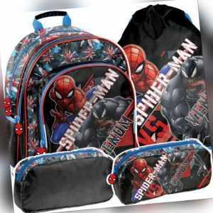 3tlg. Set Schulranzen Rucksack Ranzen Beutel Federtasche Marvel Spiderman Venom