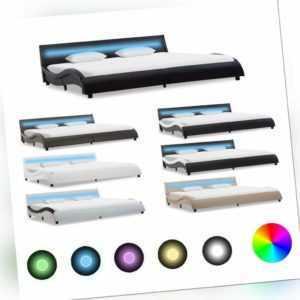 Polsterbett mit LED Schwarz Kunstlederbett Doppelbett 90-180cm Bettgestell Bett