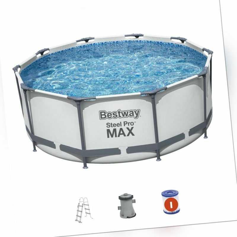 Bestway Swimming Pool Ø305x100 Steel Pro MAX Frame Pool Rund Schwimmbecken