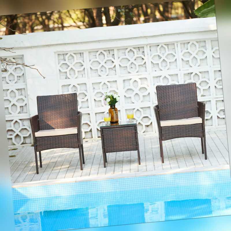 Lounge-Set 3 Stück Gartenset Set Möbel Gartenmöbel mit Bank Stühlen Tisch