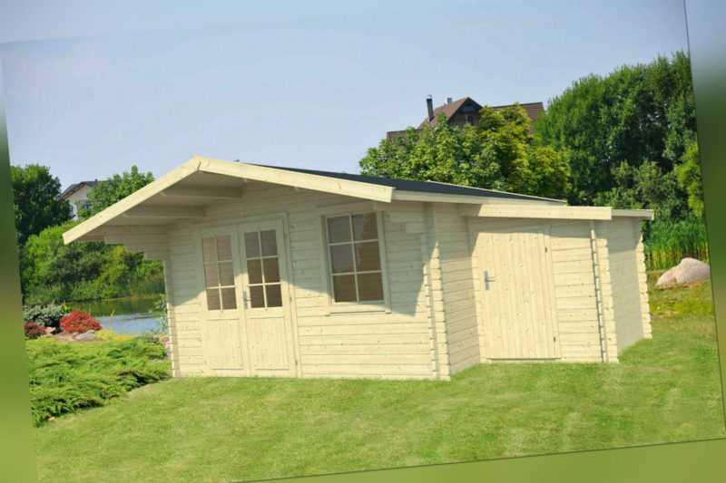 40 mm Gartenhaus 410 x 410 cm + ANBAUSCHUPPEN Holzhaus Blockhaus Gerätehaus Holz