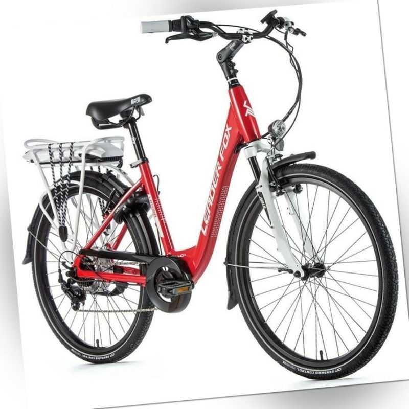 26 Zoll LEADER FOX E Bike Damen Elektro Fahrrad 36V Pedelec Shimano 7 Gang rot