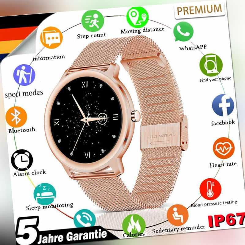 Damen Bluetooth Smartwatch Armband Herzfrequenz Monitor Fitness Tracker Sportuhr
