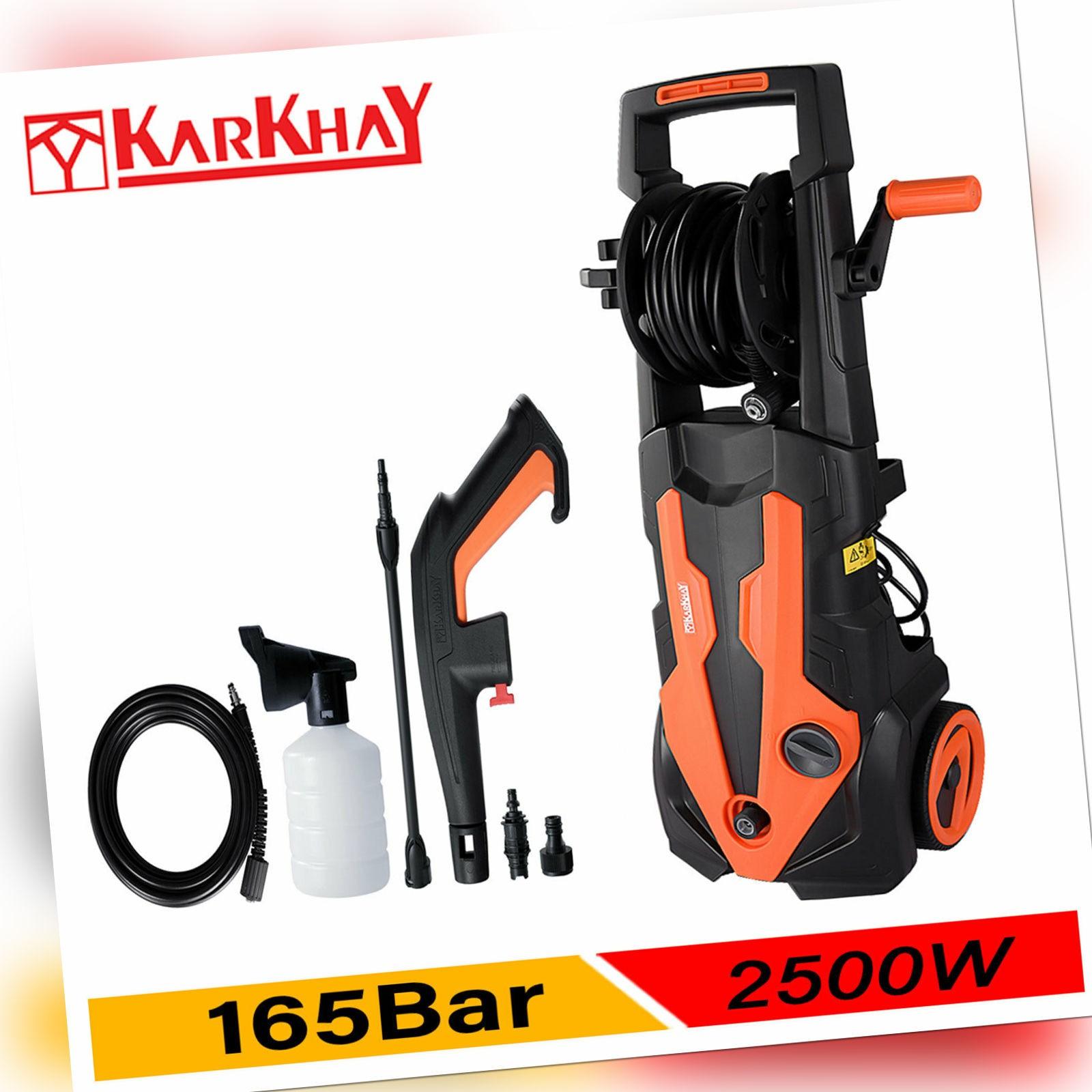 Karkhay Hochdruckreiniger Elektro 2500W 180bar Schlauchtrommel 5m Schlauch DE
