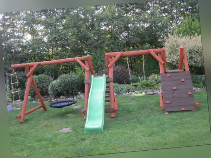 PREMIUM Holz Spielturm Kletterturm 2x Schaukel 1x Rutsche Spielhaus Spielplatz