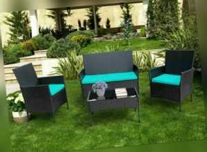 4tlg Rattanmöbel Gartenmöbel Sitzgruppe Modern Lounge Sofa Tisch Set Balkonmöbel