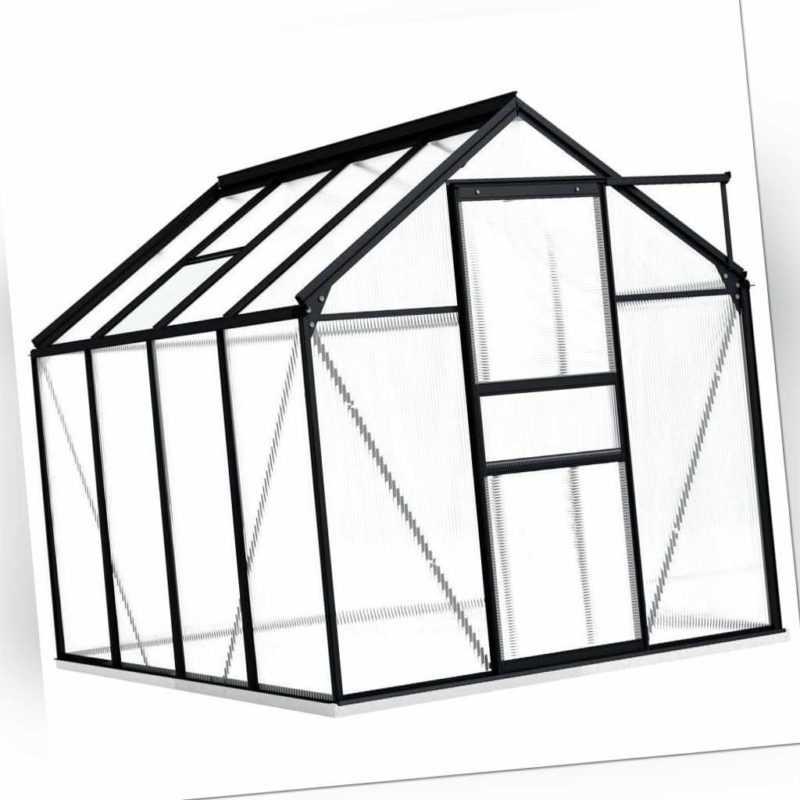 vidaXL Gewächshaus Fundamentrahmen Anthrazit Alu 4,75 m³ Treibhaus Tomatenhaus