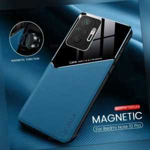 Für Xiaomi Redmi Note 10 4G / Pro Hülle Magnet Schutzhülle Cover Tasche+ 9H Glas