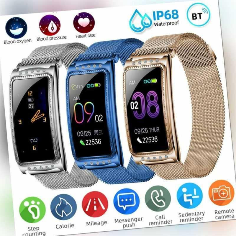 Damen Smart Watch Bluetooth Armbanduhr Pulsuhr Tracker Sport Uhr für IOS Android