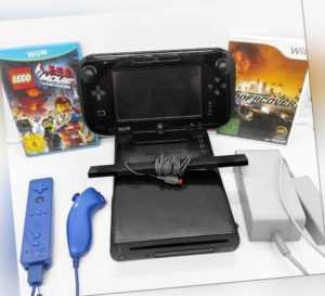 Nintendo Wii U schwarz - 2 Spiele - alle Anschlusskabel - Remote u. Nunchuck