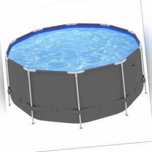 vidaXL Swimming Pool Stahlrahmen 367x122cm Anthrazit Schwimmbecken Schwimmbad