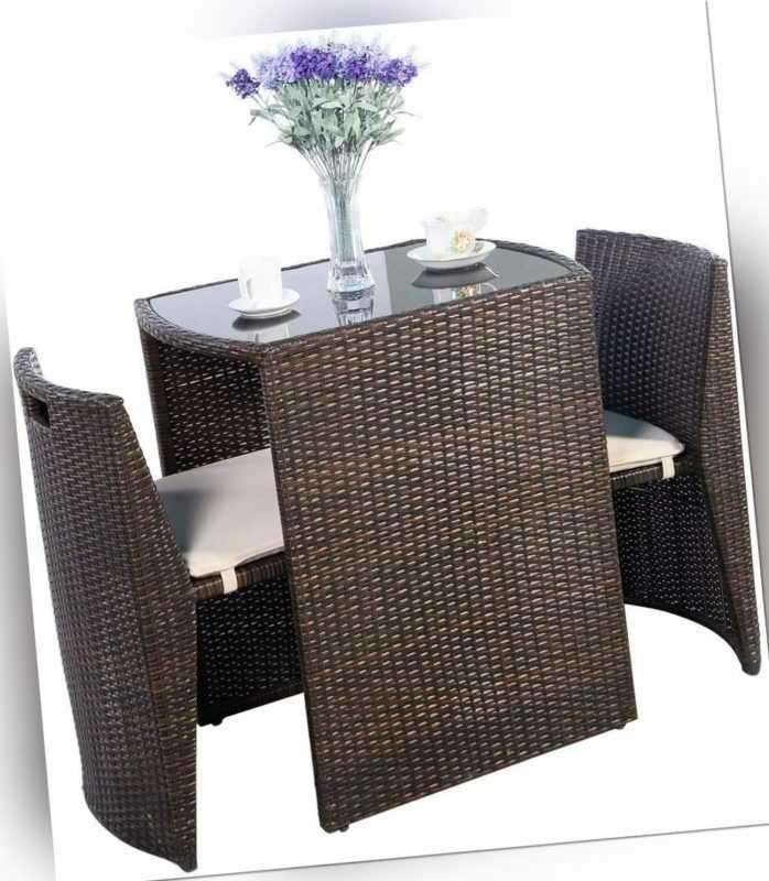 3-tlg. Polyrattan Sitzgarnitur Rattanmöbel Balkonset Sitzgruppe mit Sitzkissen