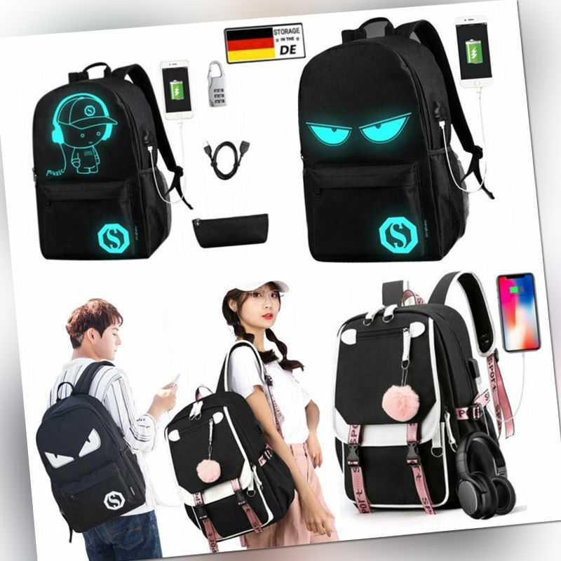 Rucksack Damen Herren  Laptop Schulrucksack Teenager Schulranzen tasche mit USB
